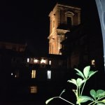 A view from the terrace outside the room of the bell tower of Santa Chiara church.