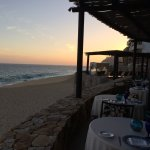 Beautiful sunset view from our table at La Roca