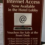 Prices to use wifi in your room - free in the lobby