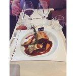 Menu à 27.90€ Très bonne qualité, très copieux.  entrée : risotto de saint Jacques plat : bœuf e