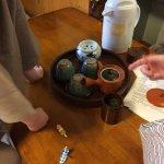 Free green tea in room