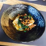 Skrei Cod with shrimps, seaweed butter and smoked celeriac