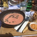 Parsnip, fennel & beetroot soup with croutons