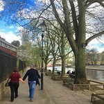 Walking into town by the river