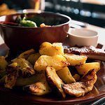 Lamb stack with Roast potatoes and salad