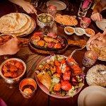Saritas starter platter, Chicken tikka Masala, Saag Paneer, Mixed Grill, Pilau rice & Naan bread