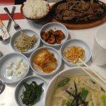 soup, banchan and bulgogi with rice