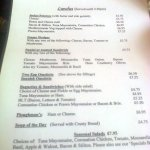 Tansy's Continental Cafe Menu, Ringwood, Hampshire