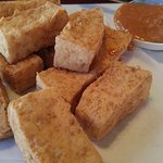 Fried tofu & peanut sauce appetizer