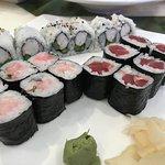 Tuna Roll, Yellowtail w/ scallion roll, and Shrimp w/asparagus Roll