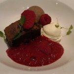 The Brownie dessert, with raspberries