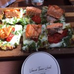 Incredible food...I believe this was the Salmon Pizza