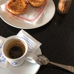 Espresso with pasteis de nata, a Portuguese classic any time of the day