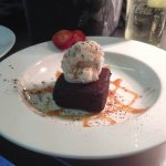 Warm Oreo Brownie with Vanilla Ice-cream and Salted Caramel Sauce.