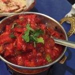Lamb karahi masala and South Indian garlic chilli tikka. Fabulous!