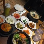 A delicious Korean lunch!! Bibimbob, soft tofu stew and seafood udon. Served in really hot pots