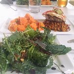 The Bison, The Duck and The Egg Burger, Sweet Potato salad with Kale Salad