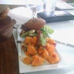 The Know Better Angus Burger with Sweet potatoe salad