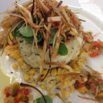 Jumbo Lump Crab Cake with cream corn, tomato chow chow
