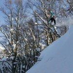 Backcountry snowboarding at Aomori Spring Resort. Photo by Keith Stubbs