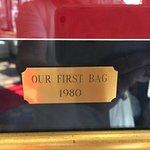 Sign designating first bag