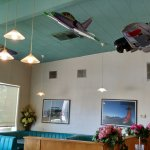 Model planes hanging from the ceiling