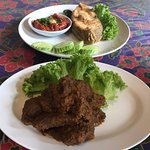 Beef Rendang and fried fish