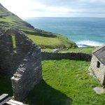 Abandoned stone farmhouses on Dingle coast