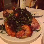 the famous roast chicken with bread salad underneath
