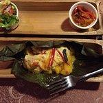 Miato de tilapia, delicioso mplato de yuca pescado fresco y verduras con salsas propias de Ecuad