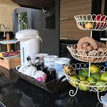 Good morning fruits, cookies and fresh coffee