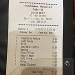 Our meal at Little Delhi - 1 starter, 2 main courses and 1 coke for $37,75