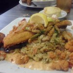 Fried Seabass over rice