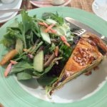 Spinach, feta and pumpkin quiche with salad.