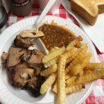 Brisket, Fries, and Backed Beans