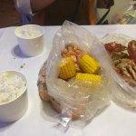 Crabs in lemon butter garlic sauce and Shrimps in Sambal.