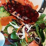 Castle John's - BBQ Salmon with vegetables & garden salad