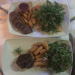 Kid's steak and chips on the top - $15, Main Course steak and chips on the bottom - $38!!