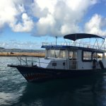 Our new dive boat with sun shade on the sun deck. It will be extremely comfortable for divers.
