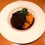 Beautiful Ox-cheek and pulled Ox-tail, with root veg mash and red wine sauce