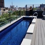 Pool on terrace, with great views over city