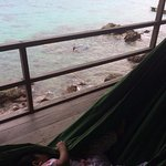 My baby sleeping in hammock while my husband and son did snorkeling underneath. :)