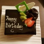 The complimentary birthday cake
