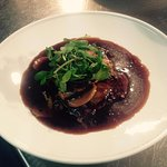 8oz Rump Steak with a Red Wine and Mushroom Sauce.