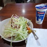 A chicken kebab well hidden by salad