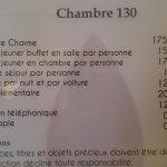 tarif de la chambre 130