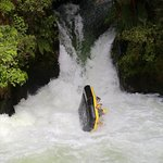 Going over the highest commercially rafted waterfall in the world - 7 metres