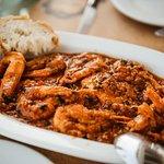 Shrimp saganaki. Heaven to the taste buds