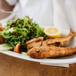 Grilled fish with evegtables. Simple and delighful