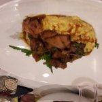 Dessert du jour clémentine au sirop à la nepita sur biscuit, Seiche sur riz safrané de s'atténue